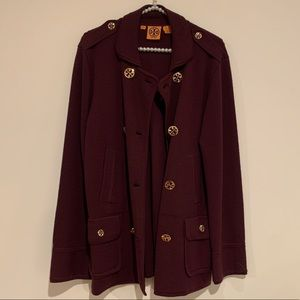 Burgundy Tory Burch cardigan sweater gold buttons